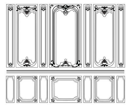 Decorative Damask Ornamented frames for walls or backgrounds. Interior design decoration panels. Classic Baroque Vintage style. Vector frame Ilustração