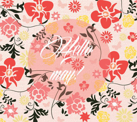 revive: Hello Spring May card or invitation with colorful flowers. Vector illustration Illustration