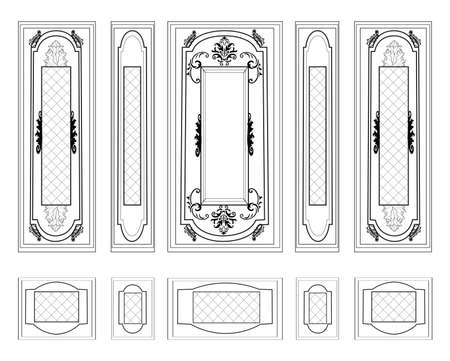 Vector Wall Frames wainscoting Decorative Damask Ornamented. Frames for walls or backgrounds. Interior design decoration panels. Classic Baroque Vintage style frames Vettoriali