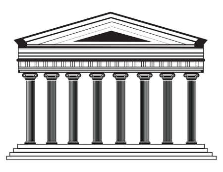 Roman/Greek Vector Pantheon temple with Doric columns. High detailed architecture frontal view