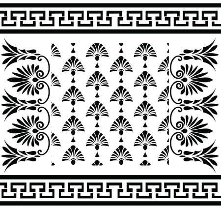 fret: Vector set Traditional vintage Greek ornament (Meander) and floral pattern. Vector greek style ornament composition background