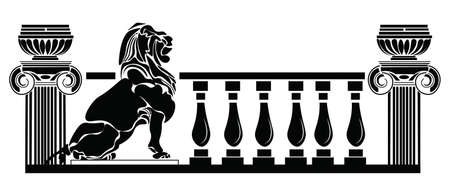 roman columns: Architectural columns Greek style and Lion silhouette. Vector Roman composition. black color