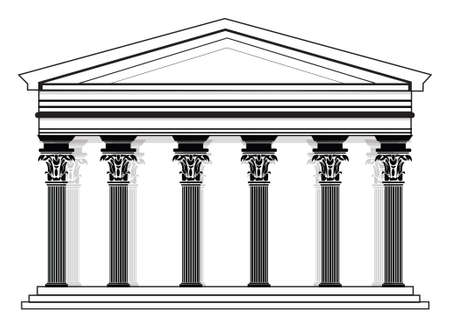 frontal view: RomanGreek Vector Pantheon temple with Corinthian columns. High detailed architecture frontal view