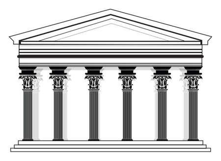 corinthian: RomanGreek Vector Pantheon temple with Corinthian columns. High detailed architecture frontal view
