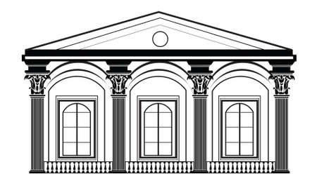 classical style: Architectural Classic House facade with Corinthian columns. High detailed architecture frontal view Illustration