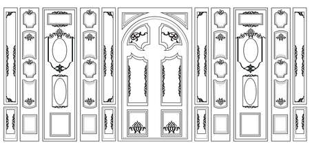 panels: Vector wainscoting Decorative Damask Ornamented frames for walls or backgrounds. Interior design decoration panels. Classic Baroque Vintage style. Vector frame Illustration