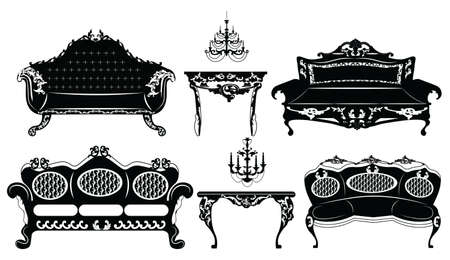 baroque furniture: Classic Baroque furniture set. Vector sketch furniture with luxury ornaments Illustration