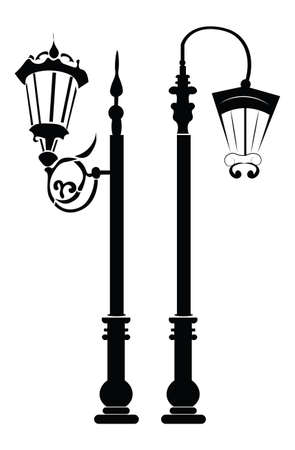bureau: Street lights and outdoor lamps. Vector template for architecture bureau, business card and banner Illustration