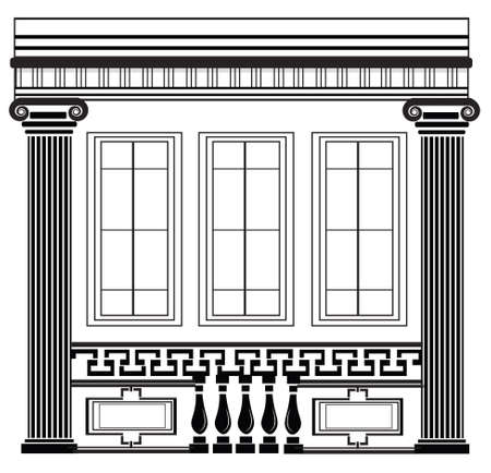 frontal view: Architectural Classic House facade with Corinthian columns. High detailed architecture frontal view Illustration