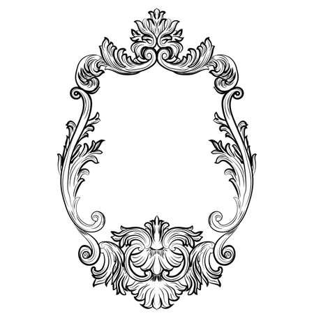 arredamento cornice barocca rococò Mirror. Vector lusso francese ricchi ornamenti scolpiti e Cornici a muro. Vittoriano cornice stile reale