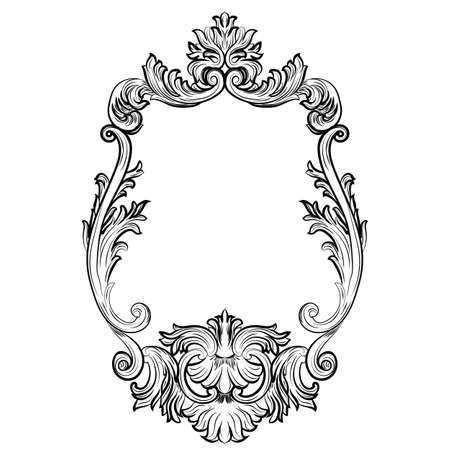 baroque furniture: Baroque Rococo Mirror frame decor. Vector French Luxury rich carved ornaments and Wall Frames. Victorian Royal Style frame
