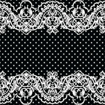 luxo: teste padrão branco Crochet Lace vintage. DAMASCO clássico rendas com ornamento floral e pontilhada em estilo vitoriano. polca preta pontilhou o fundo do laço do vetor Ilustração