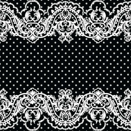 lux: White vintage Lace Crochet pattern. Damask classic lace pattern with floral and dotted ornament in Victorian style. Black polka dotted background Vector lace