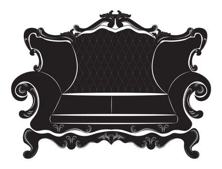 luxury furniture: Vector Baroque sofa furniture with luxury ornaments. Vector sketch rich furniture
