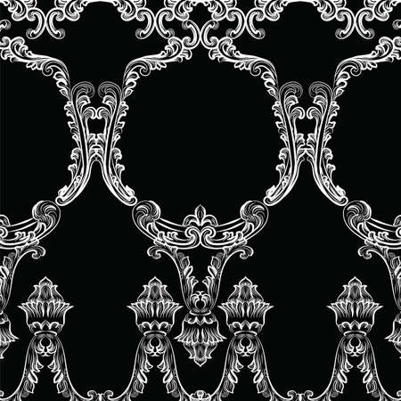 aristocracy: Rococo frame decor pattern. Vector French Luxury rich carved ornaments and Wall Frames. Victorian Royal Style frame