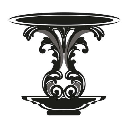 baroque furniture: Baroque Royal Table with luxury ornament in Black. Vector furniture with engraved ornaments