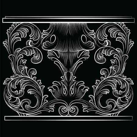 furniture detail: Rich Baroque Table. French Luxury rich carved ornaments furniture. Vector Victorian Royal  Style furniture. Black background Illustration