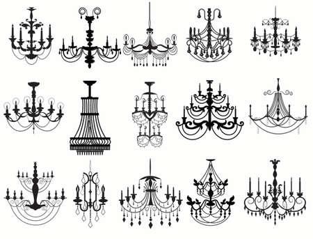 クラシック シャンデリア セット コレクション。高級装飾アクセサリーのデザイン。ベクトル イラスト スケッチ
