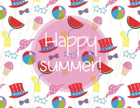 Summer time Holidays pattern with ice cream, toys, hats. Happy Holidays joyful pattern Illustration