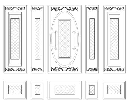 panels: Vector Wall Frames wainscoting Decorative Damask Ornamented. Frames for walls or backgrounds. Interior design decoration panels. Classic Baroque Vintage style frames Illustration