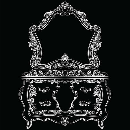 baroque furniture: Rich Baroque furniture set. Dressing Table and mirror frame. French Luxury rich carved ornaments furniture. Vector Victorian Royal Style furniture. White on black