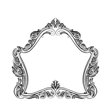 mirror and frame: Luxury Baroque Rococo Mirror frame set. Vector French Luxury rich carved ornaments and Wall Frames. Victorian Royal Style frame