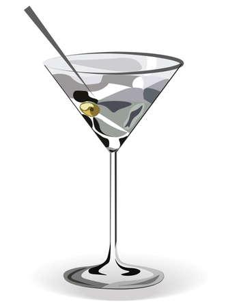 Cocktail del bicchiere di Martini isolato. Tecnica acquerello vettoriale