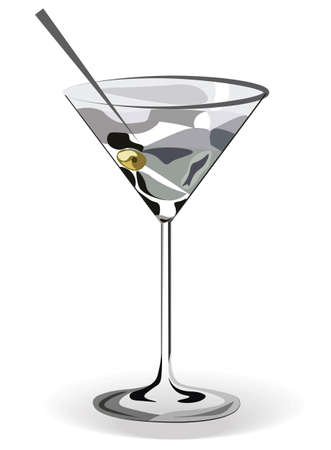watercolor technique: Glass of Martini cocktail isolated. Vector watercolor technique Illustration