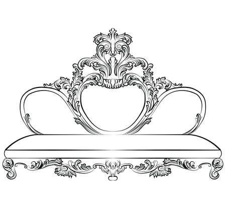 aristocracy: Royal Sofa in Baroque style with damask luxurious round elements ornaments. Vector