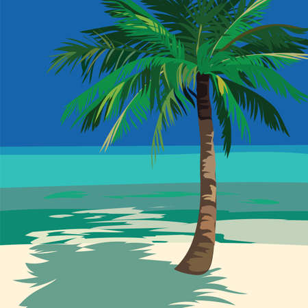 ocean view: Summer Beach Ocean view  with Palm tree. Vector background card Illustration