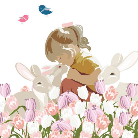 friendship day: Little girl playing with rabbits in a meadow full of flowers. Vector sweet composition for Childrens Day or Friendship Day Illustration