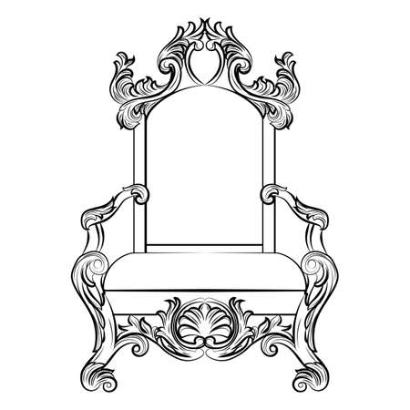 Baroque luxury style furniture. Chair throne with luxurious rich ornaments. French Luxury rich carved ornaments furniture. Vector Victorian exquisite Style furniture. Vector sketch