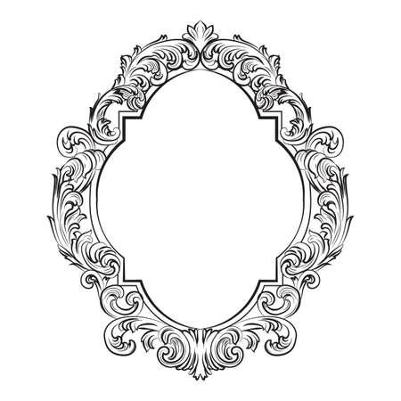 華やかなバロック ロココ ミラー フレーム セット。ベクトル フランス高級リッチは、装飾品や壁のフレームに刻まれています。ビクトリア朝の裕福  イラスト・ベクター素材