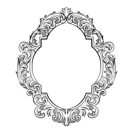 furniture detail: Glamorous Baroque Rococo Mirror frame set. Vector French Luxury rich carved ornaments and Wall Frames. Victorian wealthy Style frame