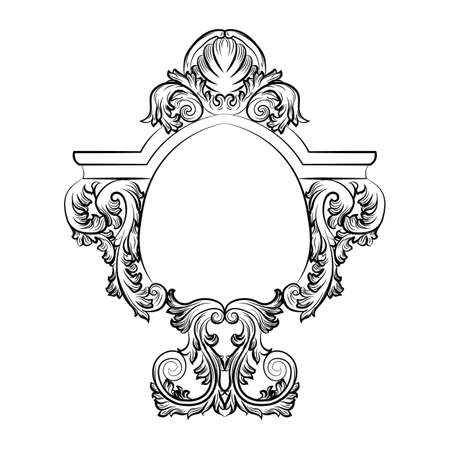 rococo: Baroque Rococo Exquisite Mirror frame decor. Vector French Luxury rich carved ornaments and Wall Frames. Victorian Royal Style frame