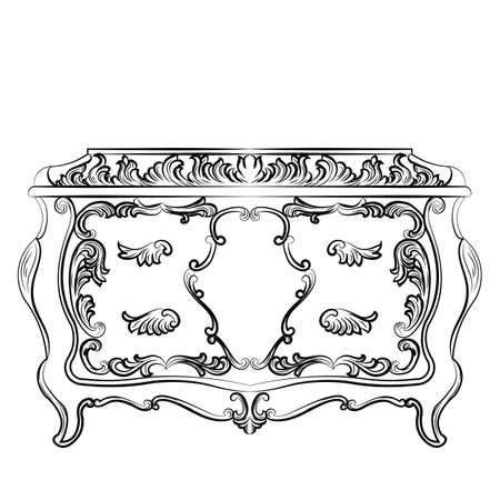 baroque furniture: Rich Baroque Dressing Table with drawers. French Luxury rich carved ornaments furniture. Vector Victorian Royal Style furniture