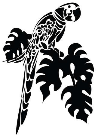 pájaro del loro aislado en blanco. Ilustración de color negro boceto