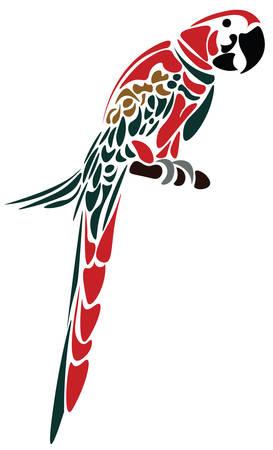 Parrot Vogel auf weiß isoliert. Vector Skizze farbigen
