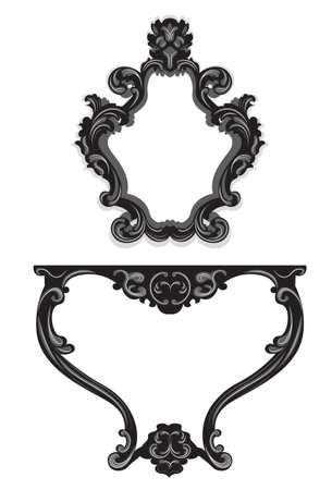 luxury furniture: Vector Baroque Table and Mirror frame furniture set. Vector sketch furniture with luxury ornaments