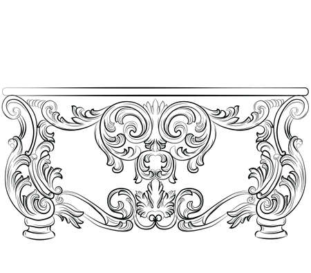 wealthy: Fabulous Rich Rococo Desk Table. French Luxury rich carved ornaments furniture. Vector Victorian wealthy Style furniture