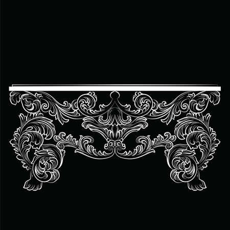 console table: Rich Baroque Table. French Luxury rich carved ornaments furniture. Vector Victorian Royal  Style furniture