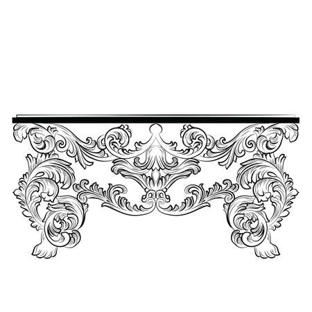 baroque furniture: Rich Baroque Table. French Luxury rich carved ornaments furniture. Vector Victorian Royal  Style furniture