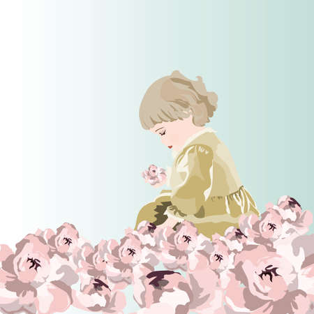 kinder garden: Little baby girl playing in a garden of peonies flowers. Vector beautiful cute illustration for Childrens Day