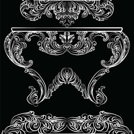 furniture detail: Exquisite Rich Rococo Table. French Luxury rich carved ornaments furniture. Vector Victorian Imperial Style furniture Illustration