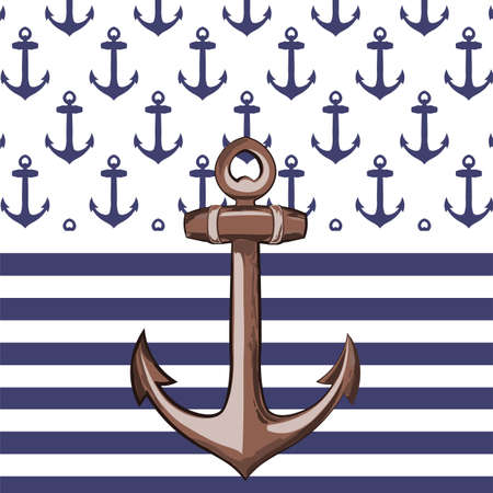 seabird: Nautical or marine themed pattern with anchor knots for yacht in square. Maritime theme pattern. Vector Illustration