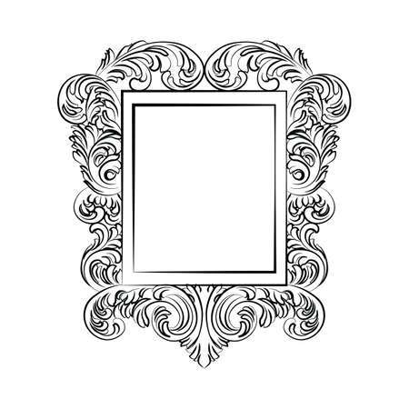 baroque room: Glamorous Baroque Rococo Mirror frame. Vector French Luxury rich carved ornaments and Wall Frames. Victorian wealthy Style frame