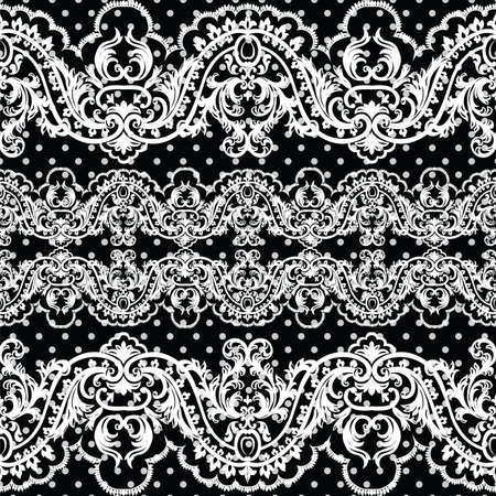 polka dotted: White vintage Lace Crochet pattern. Damask classic lace pattern with floral and dotted ornament in Victorian style. Black polka dotted background Vector lace