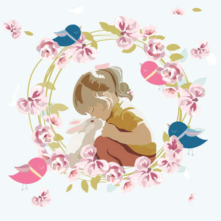 friendship day: Little girl playing with a rabbit. Vector floral wreath beautiful composition for Childrens Day or Friendship Day