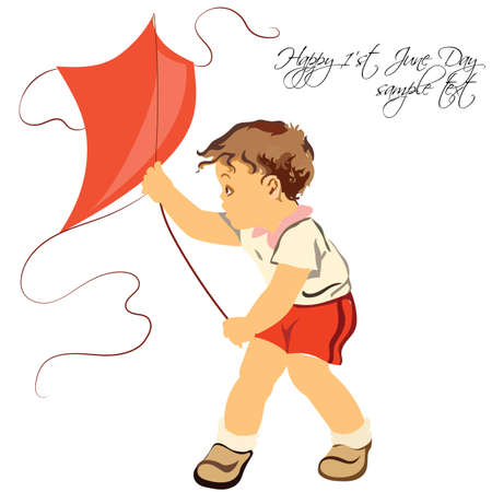 childrens playing: Happy boy playing with his kite. Isolated on white background. Hand made Vector illustration for Childrens Day or Birthday