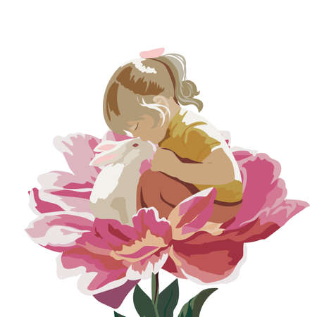 friendship day: Little girl playing with a rabbit in a meadow of a flower. Vector beautiful sweet composition for Childrens Day or Friendship Day Illustration
